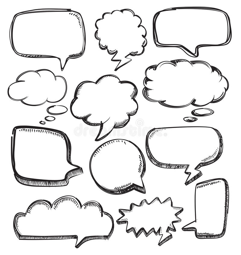 Speech bubbles. Vector hand drawn speech bubbles on white royalty free illustration