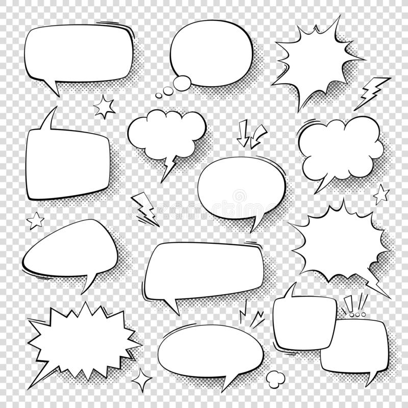 Speech bubbles. Vintage word bubbles, retro bubbly comic shapes. Thinking clouds with halftone vector set. Speech bubbles. Vintage word bubbles, retro bubbly vector illustration