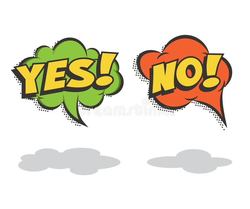 Speech bubbles YES and NO. Vector comic book elements. stock illustration