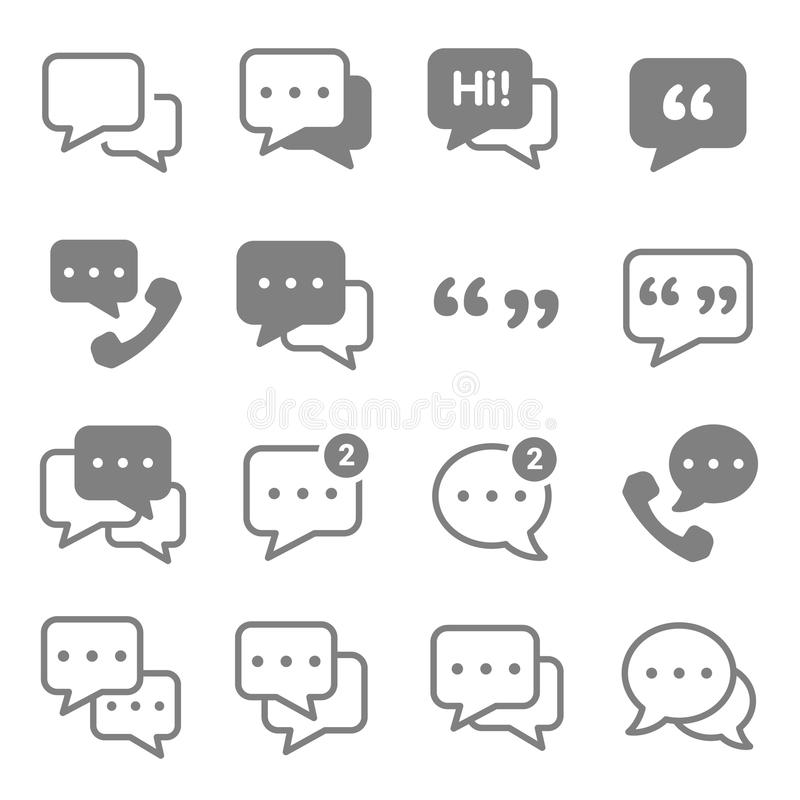 Speech chat bubbles icon set. Outline Speech bubble icon set on white. Vector thin Chat lines. outline talk pictogram. Line chat icons for flat design. Talk vector illustration