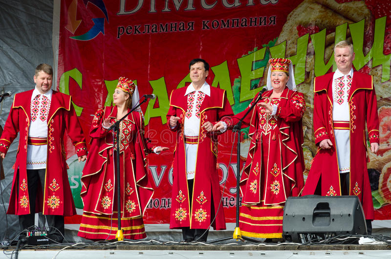 Speech by creative choral collective during mass Shrovetide celebrations. GOMEL, BELARUS - MARCH 12, 2016: Speech by creative choral collective. Concert was royalty free stock images