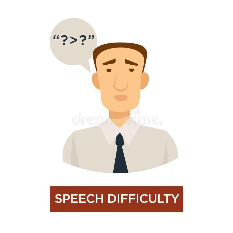 Speech difficulty symptom stroke sign disease prevention. Stroke sign speech difficulty symptom disease prevention isolated vector male character and talking stock illustration