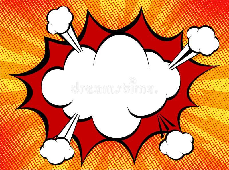 Speech explosion bubble collision pop-art style - funny balloon stock illustration