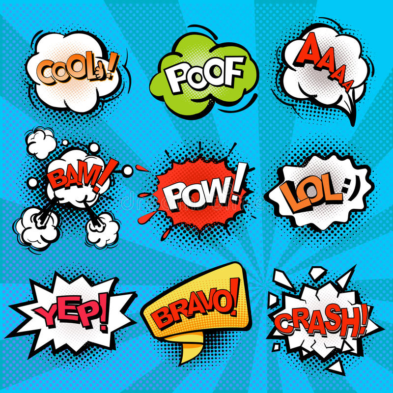 Speech and explosion bubbles on blue background with rays, comics background vector illustration