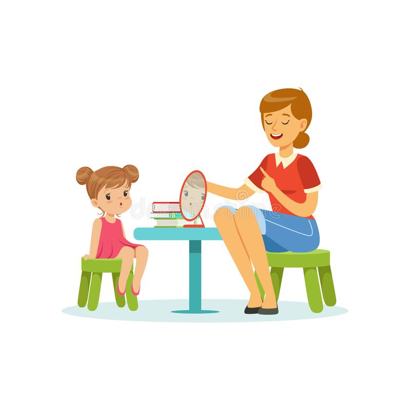 Speech and language specialist teaching little girl correct pronunciation of letters. Child speech sound development. Cartoon people characters. Flat style royalty free illustration