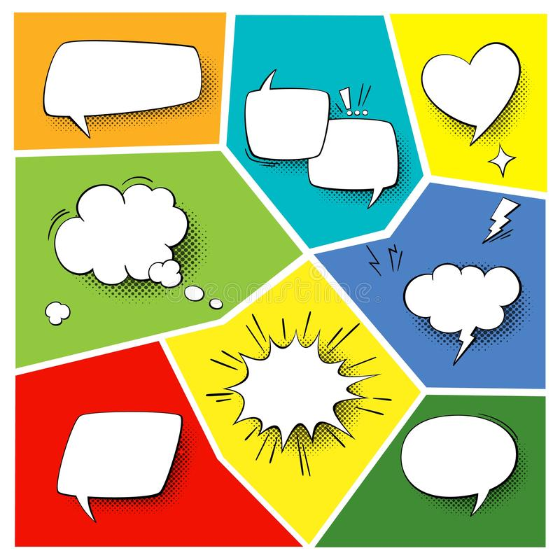 Free Speech Popart Elements. Comic Cartoon Shapes For Dialogs Thinking And Talking On Varicoloured Backgrounds Set Royalty Free Stock Images - 134503989