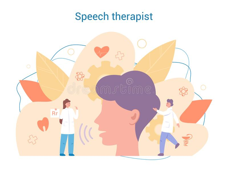 Speech therapist concept. Didactic correction and treatment idea. Doctor caring about patient health. Medical treatment and recovery. Vector illustration in stock illustration