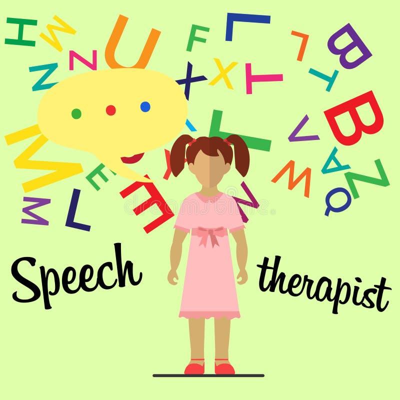 Speech therapist. Little girl stock photos