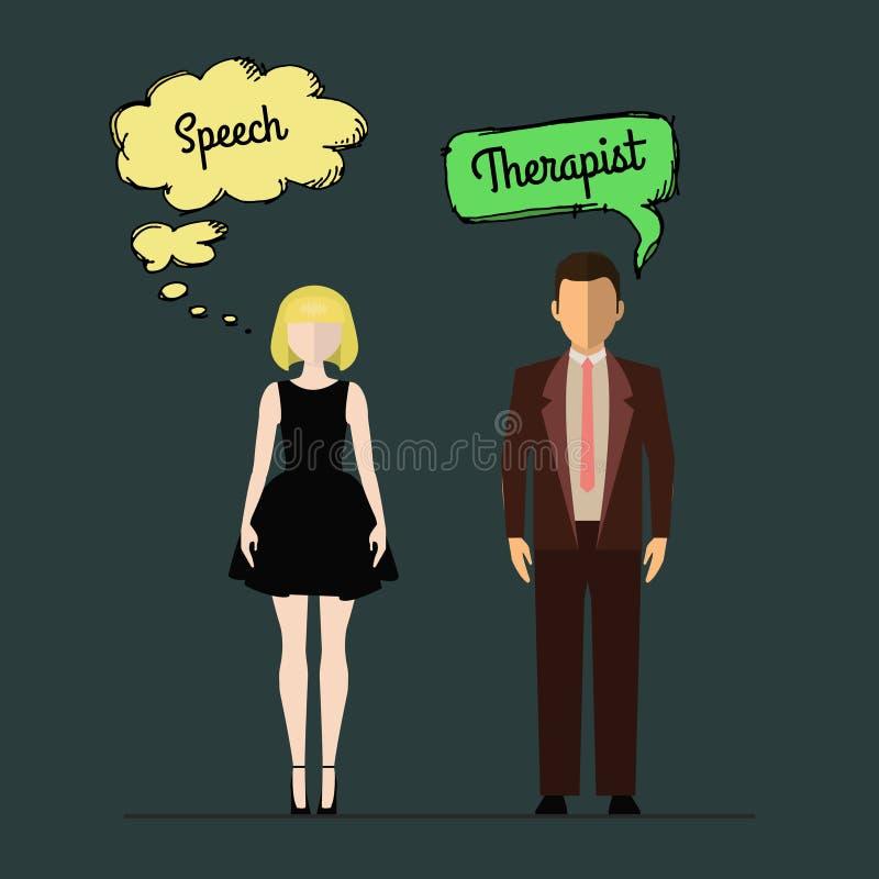 Speech therapist. Woman teacher stock illustration