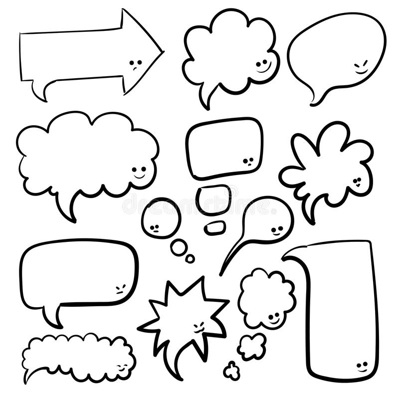 Doodle Blank Speech Bubbles Hand Drawn Cartoon Thinking