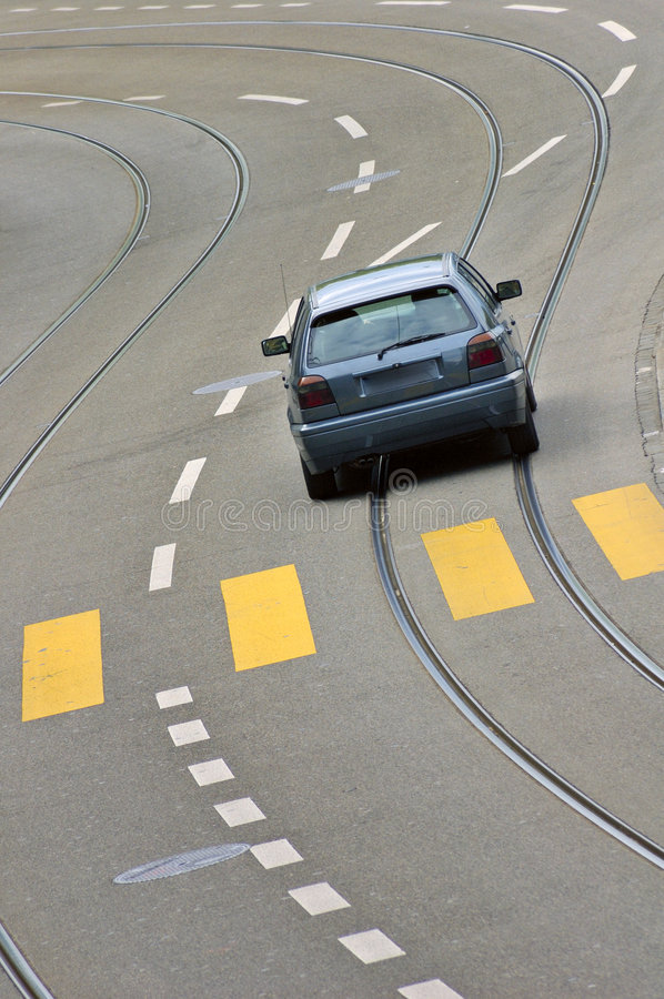 Speed. A car drives along an empty street in Zurich, Switzerland royalty free stock photography