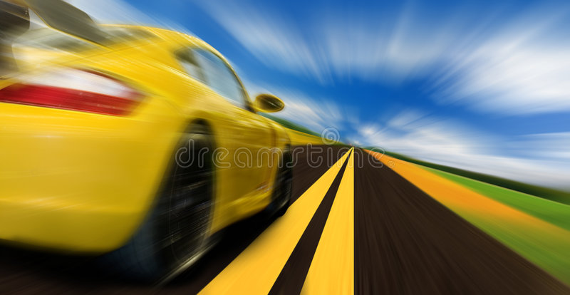 Speed. High-speed motion-blurred auto on rural highway royalty free stock image