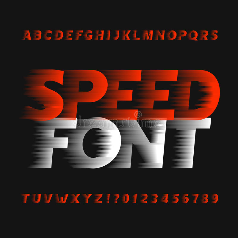 Speed alphabet font. Wind effect type letters and numbers on a dark background. Vector typeface for your design stock illustration