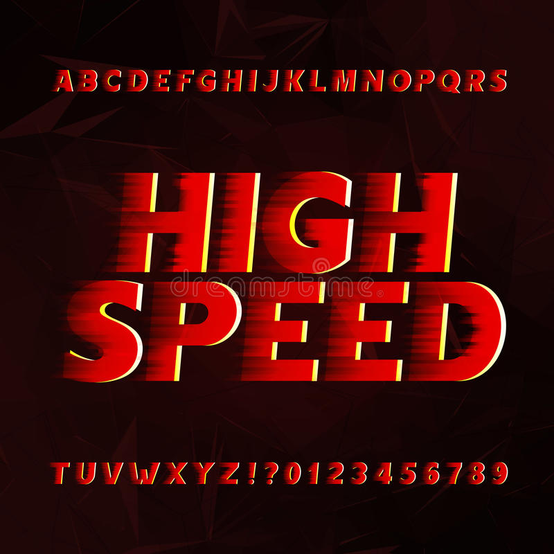 Speed alphabet vector font. Wind effect type letters and numbers on a abstract background. royalty free illustration