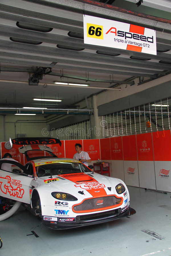 A-Speed Aston team garage, SuperGT 2010 royalty free stock photo