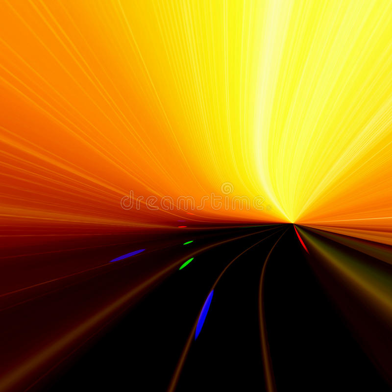 Speed Blur. Background design abstract blur with colorful speeding lines into a bright cyberspace horizon royalty free illustration