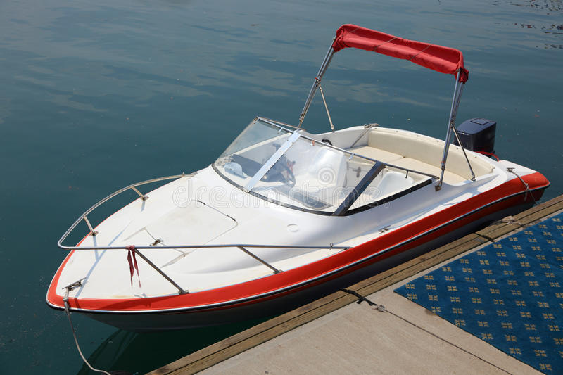 Speed boat. With nobody on it royalty free stock photo