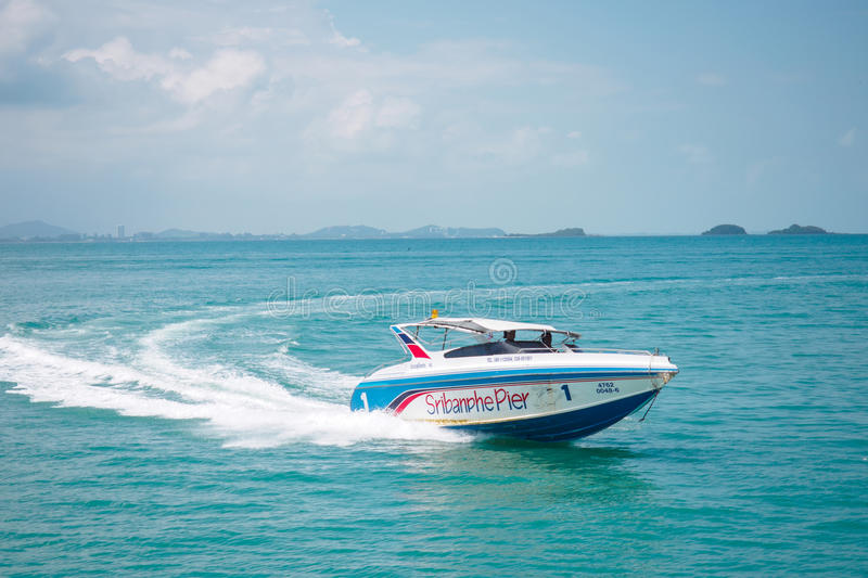 Speed boat. Arriving harbor, Thailand stock image