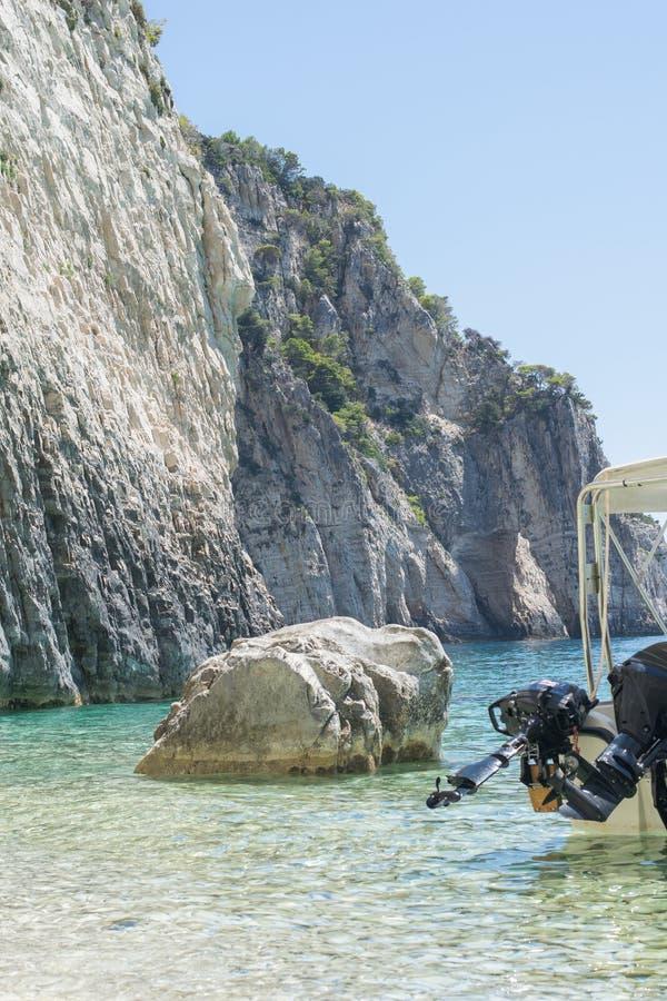 Speed Boat On The Beach Of Greek Island Marathonisi Zakynthos Greece royalty free stock photography