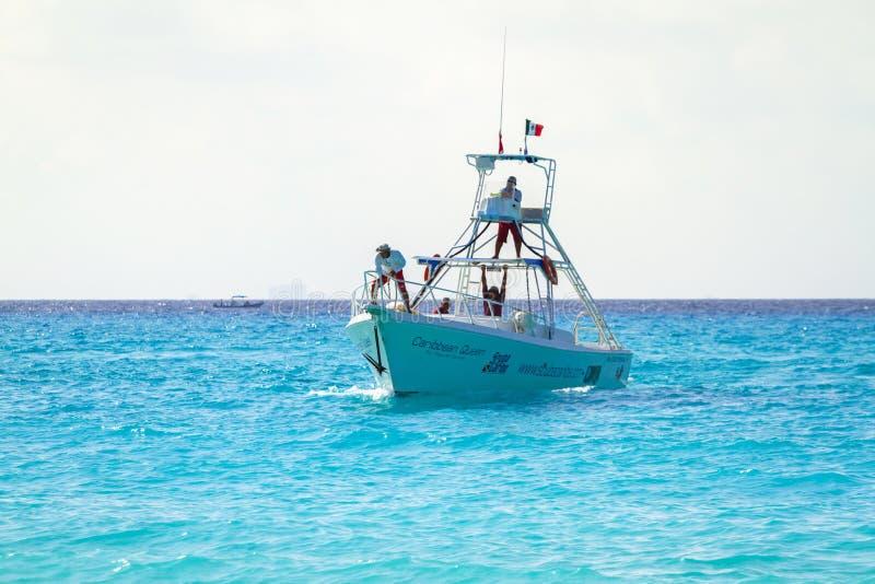 Speed boat at Caribbean Sea of Mexico stock photo