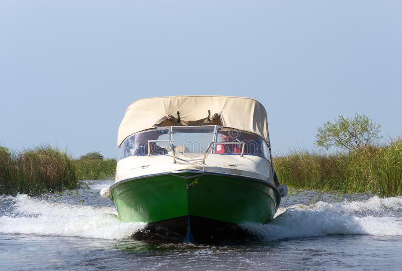Speed boat, Danube Delta stock photography
