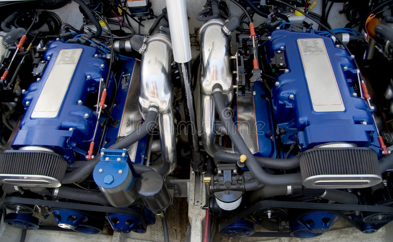 Speed boat engines stock image