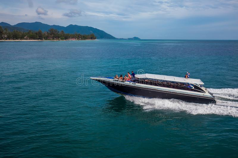 Speed boat with people. Thailand, Koh Samui, October 2017 royalty free stock photos