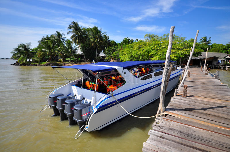 Speed boat at port. Wait go to Kood island, Thailand royalty free stock photo