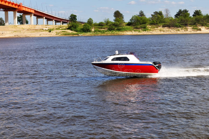 Speed boat on a river. Speed boat on Oka river near Murom, Russia royalty free stock images