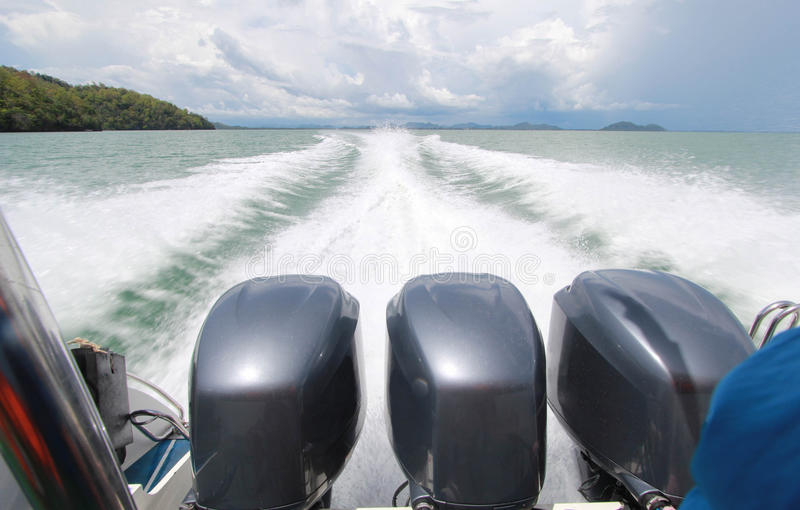 Speed Boat& x27;s Engines. With Full Speed Drive royalty free stock image