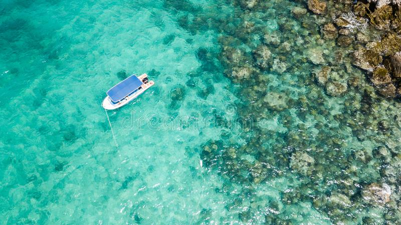 Speed boat at sea, Gulf of Thailand. Aerial view royalty free stock images