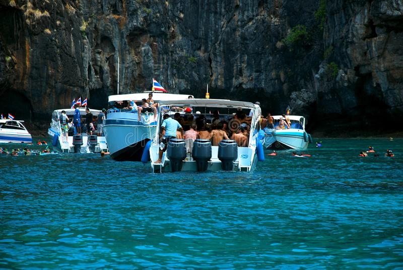 Speed boat with traveler are in side. It is Krabi Province, Thailand. royalty free stock photography