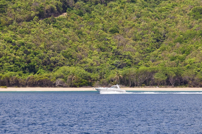 Speed boat in the tropics royalty free stock images