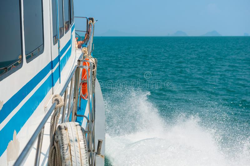 Speed boat with wake stream royalty free stock images