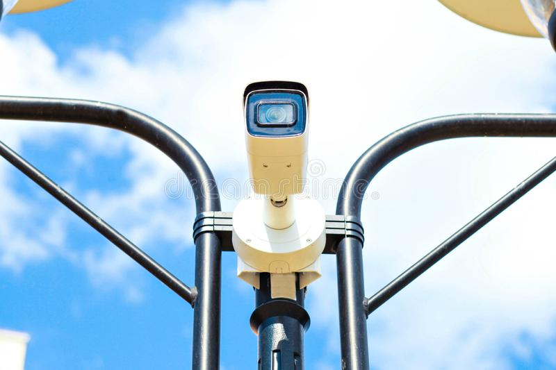 Speed camera on avtobane.Modern speed measurement camera stock photo