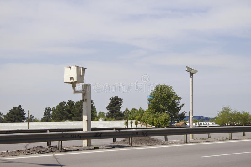 Speed camera. Speed control camera in highway royalty free stock photography