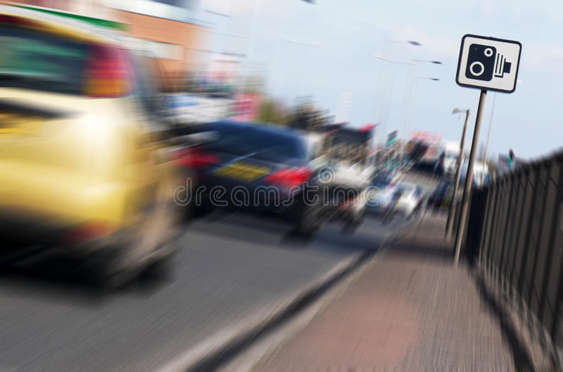 Speed camera sign stock photography