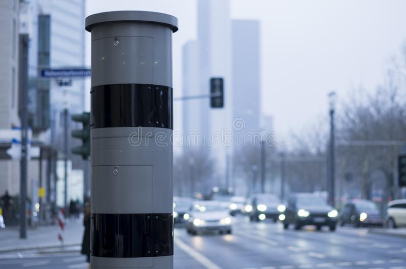 Speed camera on the street side stock photo