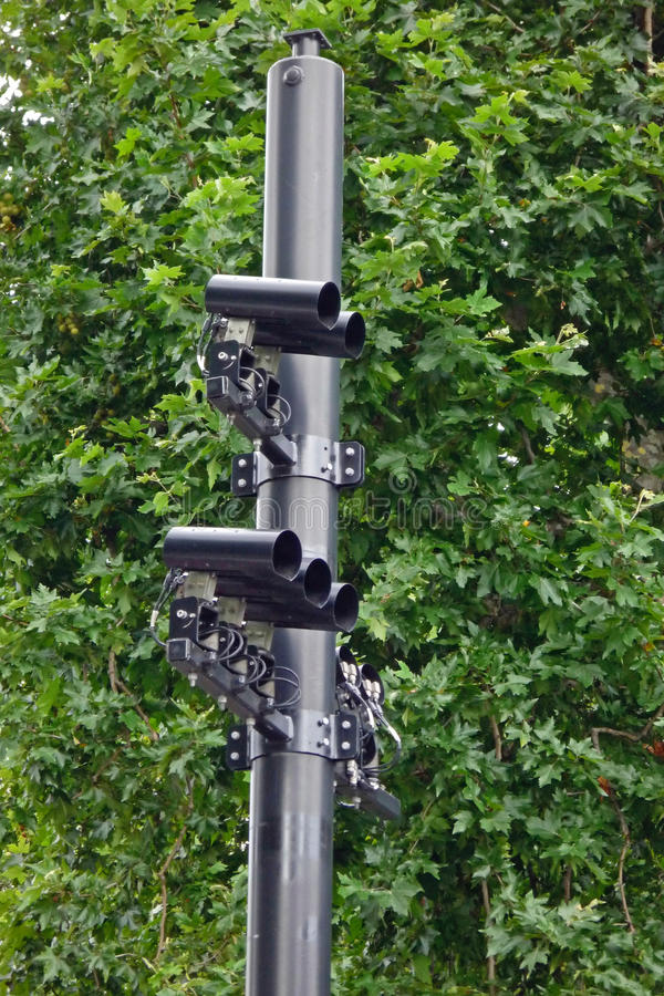 Speed cameras. On the road stock image