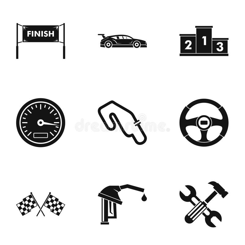 Speed cars icons set, simple style vector illustration