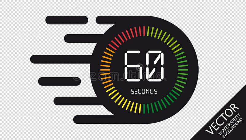 Speed Clock 60 Seconds Flat Icon - Vector Illustration - Isolated On Transparent Background vector illustration