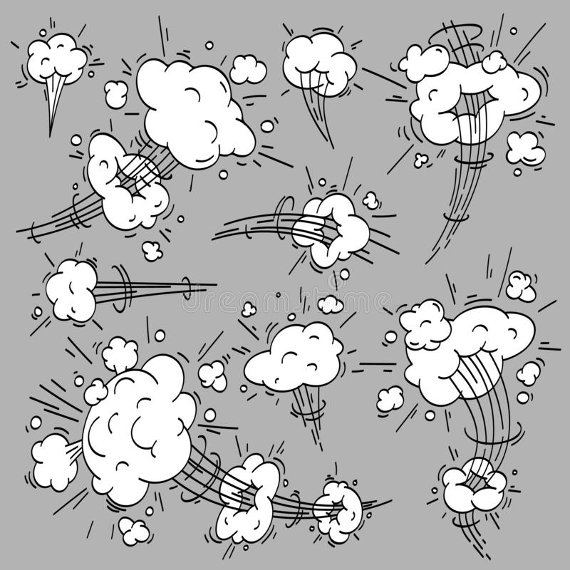 Speed cloud comic. Cartoon fast motion clouds, smoke effects and motions trail vector elements set royalty free illustration
