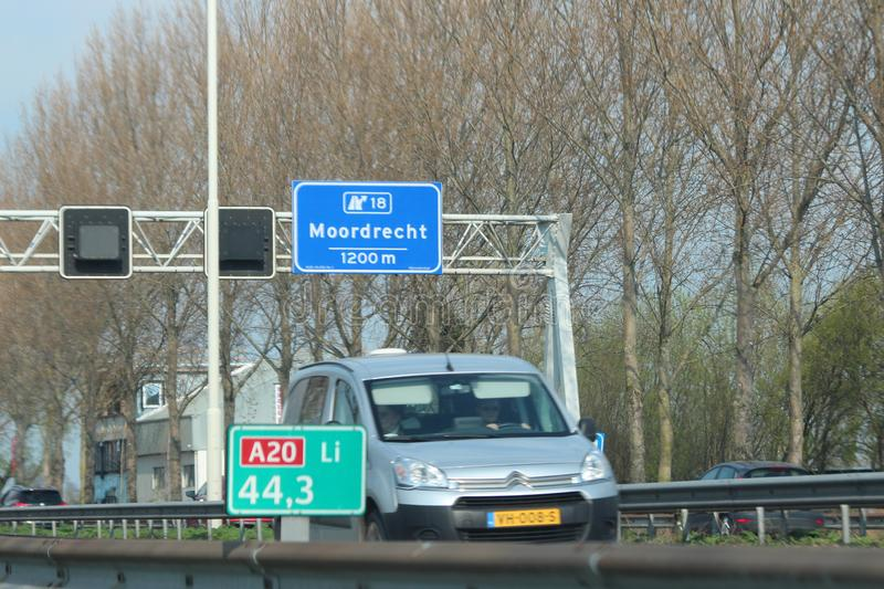 Speed and distance sign in the shoulder of motorway A20 at 44,3 left side in the Netherlands. royalty free stock photography