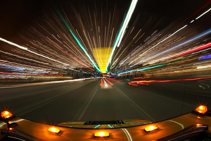 Download Speed Driving In Los Angeles With Bright City Ligh Stock Image - Image: 13881855
