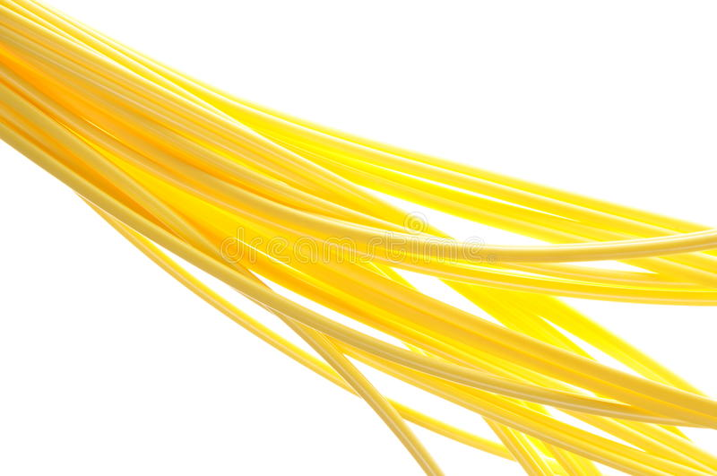 Speed flow of information. Data communications cable yellow vector illustration