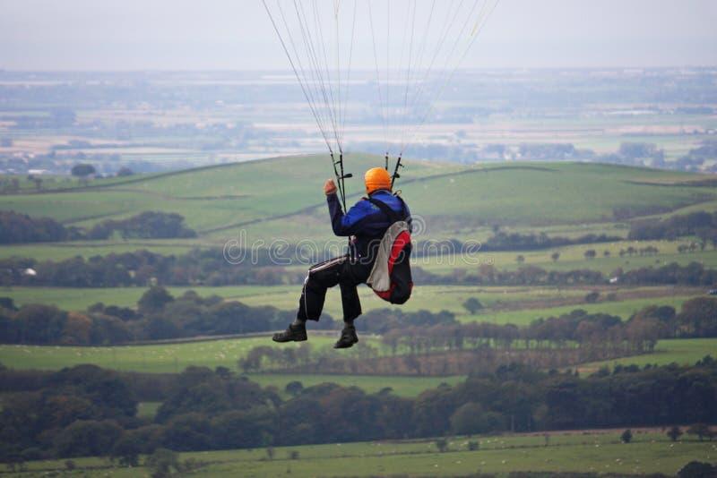 Speed flyer. Over rural Lancashire stock photo