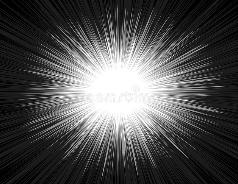 Speed Light Comic Book Style Explosion Beam Radial Zoom Background. Light rays of an explosion with a radial zoom in a comic book style. Shine radiant manga royalty free illustration
