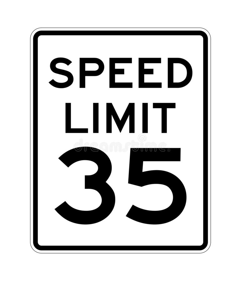 Free Speed Limit 35 Road Sign In USA Stock Photo - 165303890