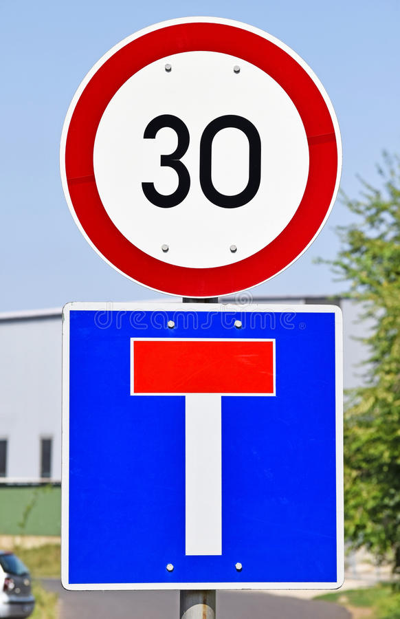Speed limit and dead end traffic signs royalty free stock images