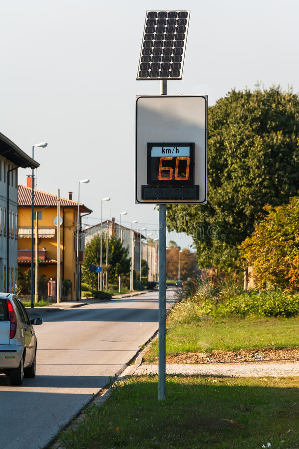 Speed limit digital sign powered by solar energy. Police radar speed detector. Powered by solar energy. In the display your speed stock image